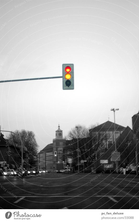 Traffic light alone Red Yellow Russet Transport Münster Street Loneliness Driving Car