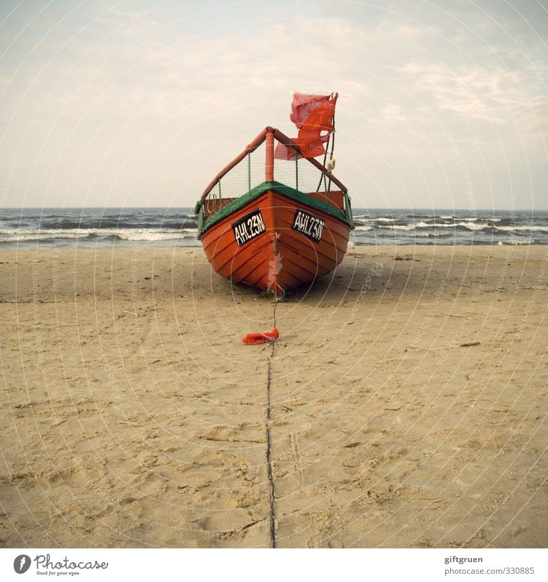 bright red fishing boat Work and employment Workplace Environment Nature Landscape Elements Sand Water Sky Clouds Wind Waves Coast Beach Baltic Sea Ocean