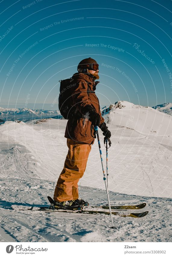 freerider Lifestyle Leisure and hobbies Adventure Winter Mountain Hiking Skiing Young man Youth (Young adults) 30 - 45 years Adults Nature Landscape