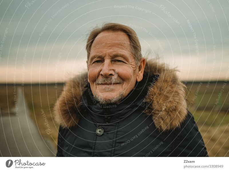 Happy Retiree Style Man Adults Male senior 45 - 60 years Nature Landscape Autumn Heathland Jacket Blonde Gray-haired Short-haired Facial hair Relaxation