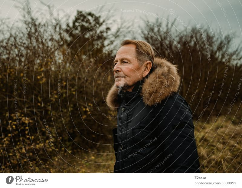 stroll Winter walk Man age Retirement annuity Heathland Facial hair Blonde attractive Coat Fashion Nature Landscape Autumn warm Brown