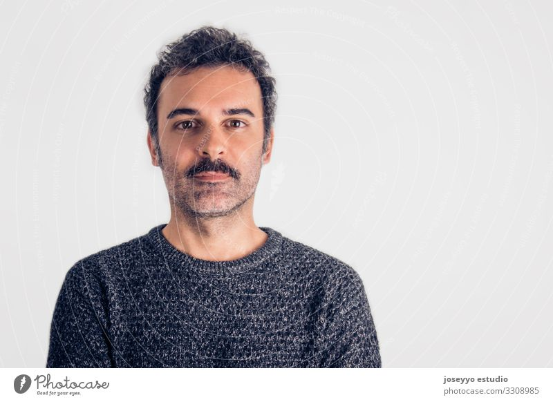 Portrait of brown, handsome man with mustache. Adults Attractive Beautiful Brown Cancer casual Charming Self-confident Cool (slang) Copy Space Expression Face
