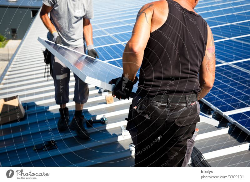 Human being Adults Together Work and employment Above Masculine Energy industry Success Authentic Beautiful weather Roof Hot Make Positive