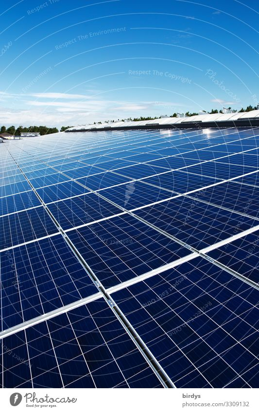 Photovoltaic system on industrial roof Industry Energy industry Company Renewable energy Solar Power Sky Cloudless sky Summer Climate change Beautiful weather