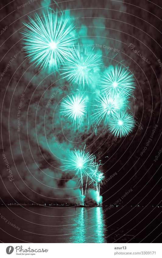 Luxury fireworks event sky water sea show with turquoise stars Night life Entertainment Party Event Feasts & Celebrations New Year's Eve Fairs & Carnivals Shows