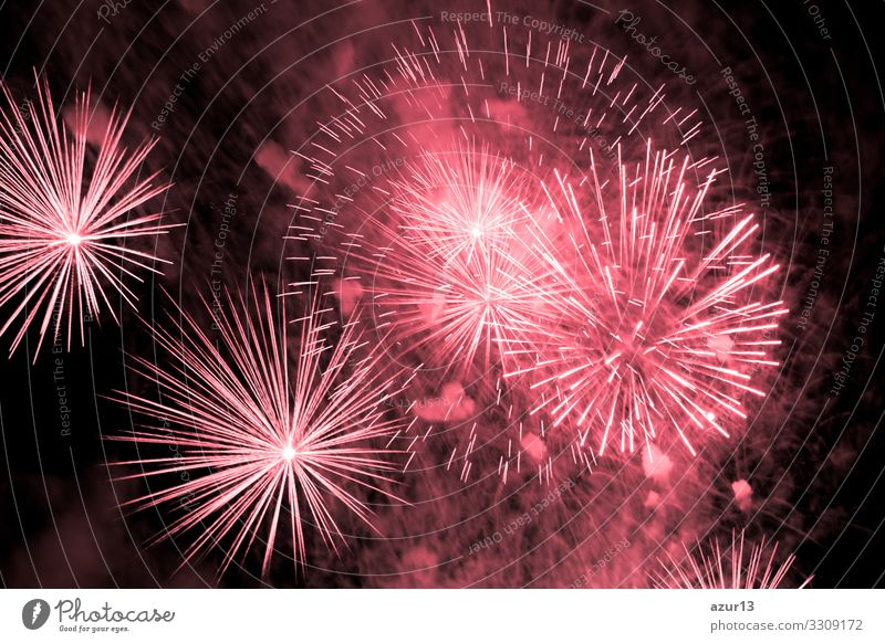 Luxury fireworks event sky show with red big bang stars Night life Entertainment Party Event Feasts & Celebrations New Year's Eve Fairs & Carnivals Shows Fear