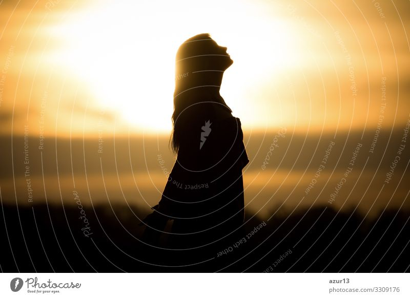 Youth woman soul at orange sun meditation awaiting future times Lifestyle Happy Healthy Health care Wellness Harmonious Well-being Contentment Senses Relaxation
