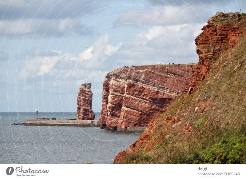 red rocks and long Anna on Helgoland Vacation & Travel Tourism Summer Environment Nature Landscape Water Sky Clouds Rock Coast North Sea Island Tall Anna