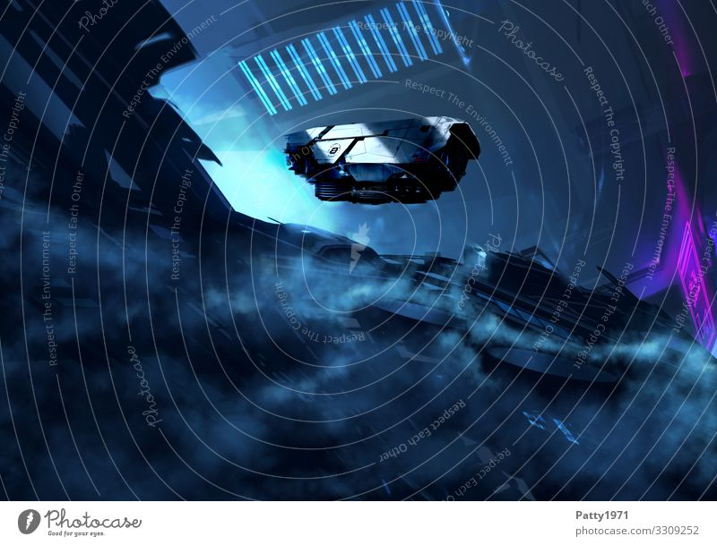 Dark Mission Technology Advancement Future High-tech Astronautics Industrial plant Tunnel Architecture Spacecraft Flying Blue Black Surrealism Science Fiction