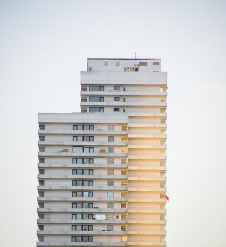 High-rise in the evening sun Coast Baltic Sea Timmendorf beach House (Residential Structure) Building Facade Balcony Window Sharp-edged Glittering Large Hideous
