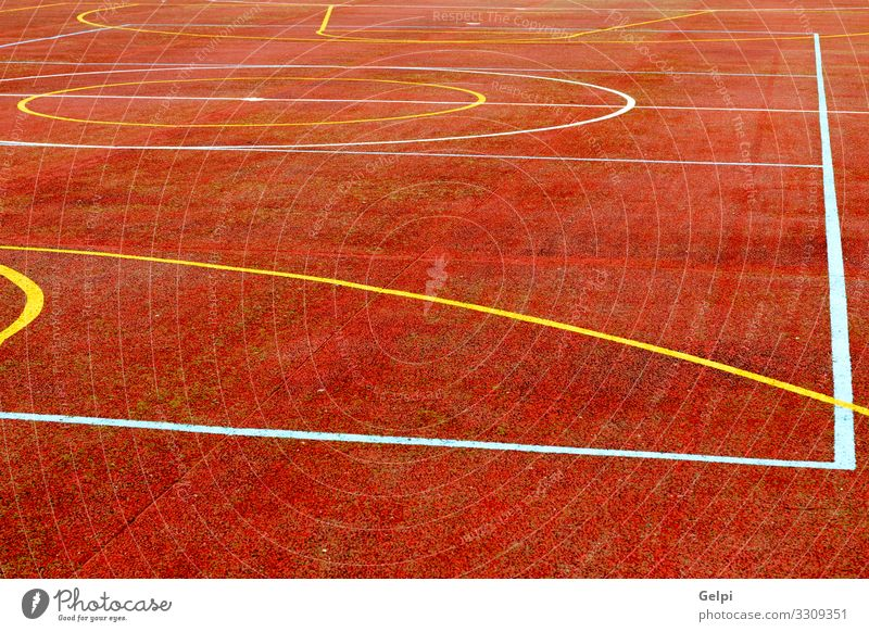 Red court of basketball Joy Relaxation Leisure and hobbies Playing Sports Soccer Stadium School Park Playground Street Line Yellow White Colour Competition