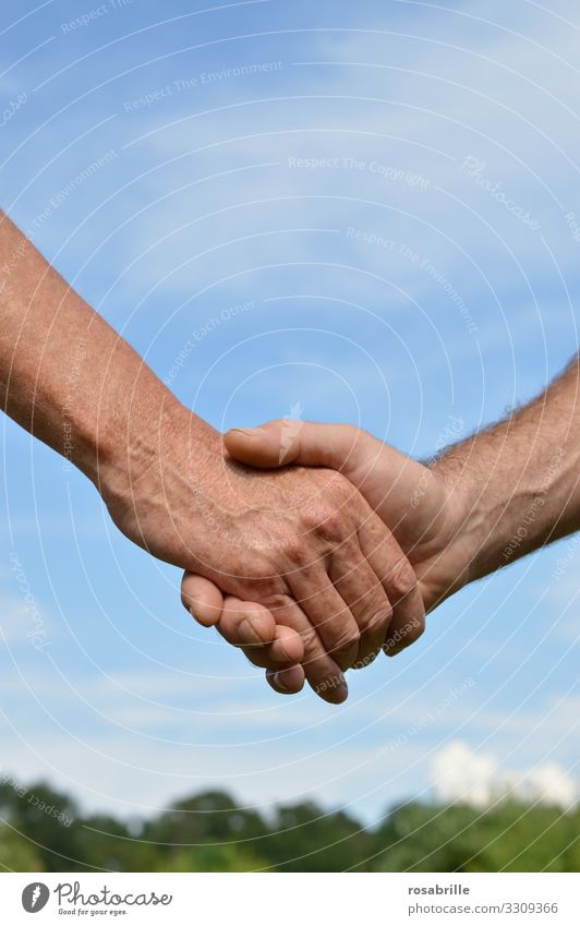 handshake | skin thing Summer Trade Business Meeting To talk Human being Masculine Man Adults Hand 2 Sky Touch Brave Determination Acceptance Loyal Sympathy