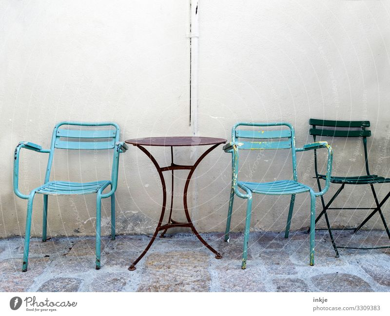 cuba Cuba Small Town Deserted Facade Table Chair Garden table Garden chair Folding chair Authentic Old Simple Side by side Wall (building) Colour photo