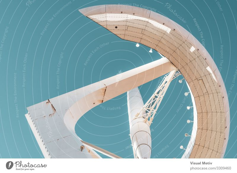 Low angle view of a communications Tower Blue Town White Far-off places Architecture Design Metal Modern Communicate Technology Telecommunications Esthetic