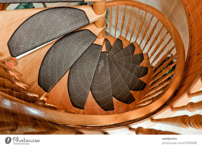 spiral staircase Stairs Winding staircase Wood Wooden ladder Level Go up Descent Carpet Round Spiral Handrail Banister House (Residential Structure)