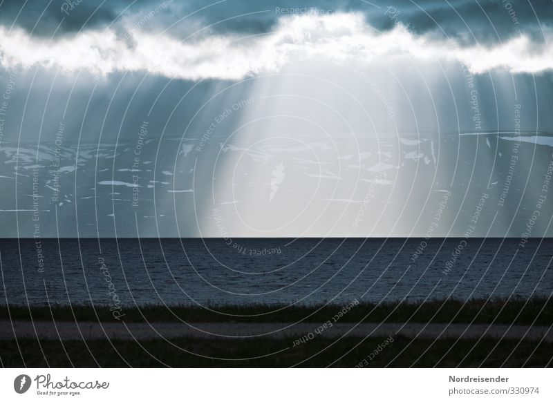 Nordic Senses Meditation Far-off places Ocean Elements Air Water Climate Climate change Weather Storm Rain Mountain Coast Illuminate Threat Dark Blue Hope