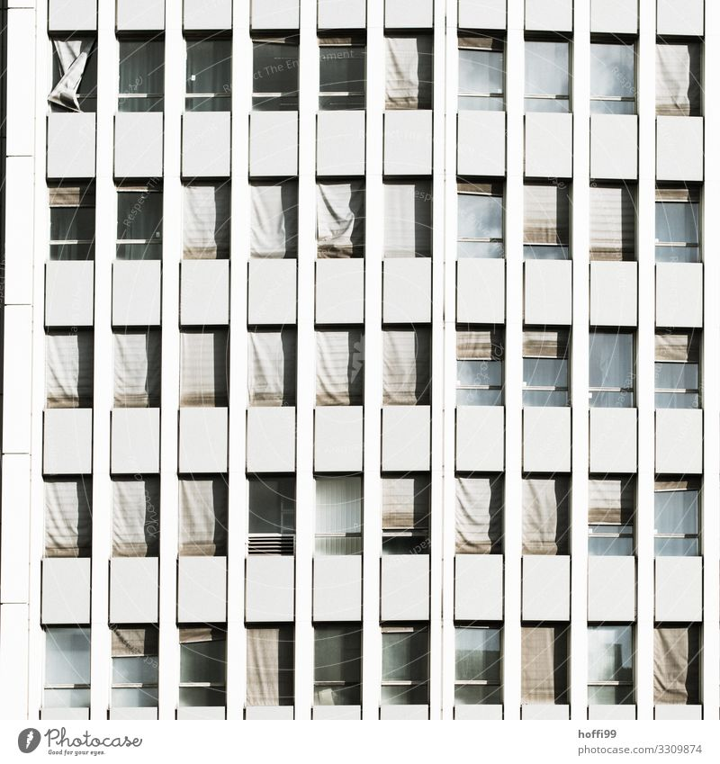 bleak high-rise facade with deformed broken blinds High-rise Wall (barrier) Wall (building) Facade Window Venetian blinds Line Old Threat Hideous Broken Town