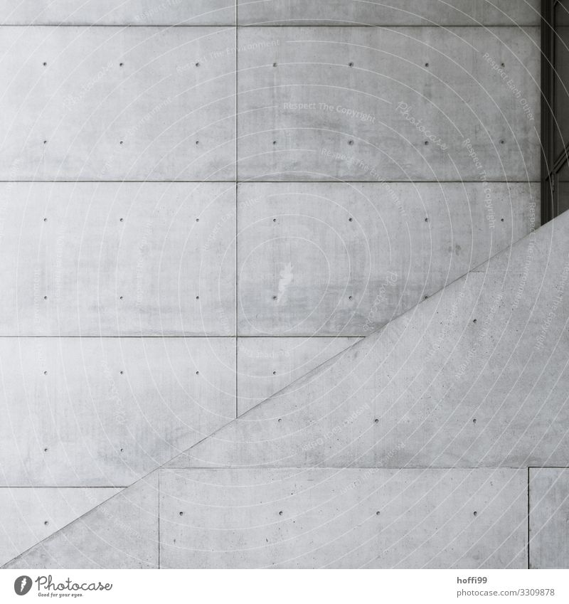 two facades made of exposed concrete with task in profile Building Architecture Wall (barrier) Wall (building) Facade Concrete Line Esthetic Cool (slang) Cold