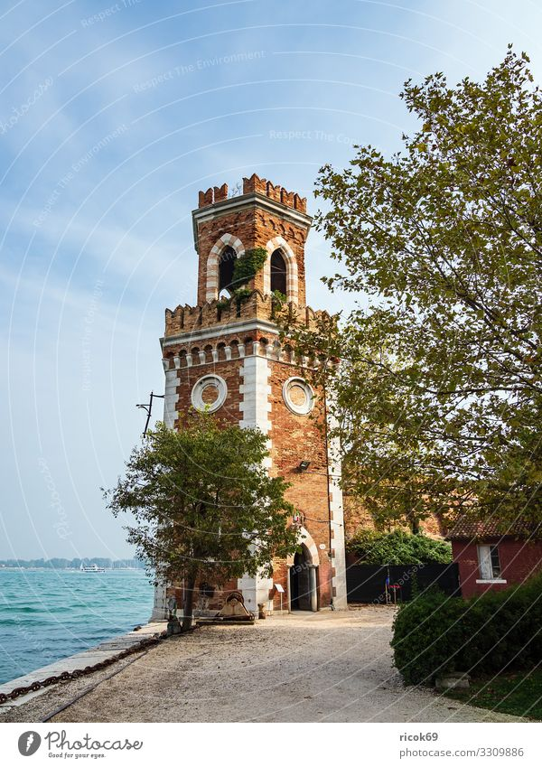 Vacation & Travel Old Blue Town Water Relaxation Clouds Architecture Building Tourism Facade Europe Idyll Italy Historic Tower