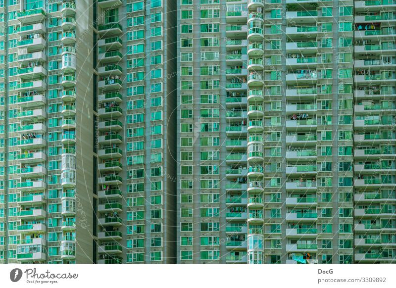 Shenzhen - green apartment block in megacity at daylight Exotic Flat (apartment) shenzhen China Asia Downtown Overpopulated High-rise Architecture