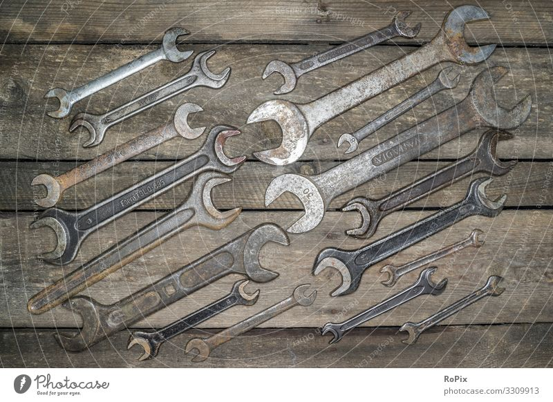 Set of old jaw spanners. Leisure and hobbies Handicraft Model-making Education Work and employment Profession Workplace Construction site Factory Economy