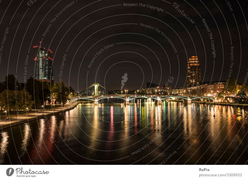 Night on the river Main in Frankfurt. Lifestyle Design Wellness Relaxation Calm Meditation Vacation & Travel Tourism Sightseeing City trip Night life
