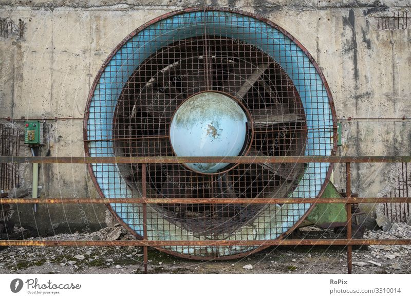 Industrial fan in a desserted steelworks. Design Science & Research Work and employment Profession Workplace Construction site Factory Economy Industry Trade