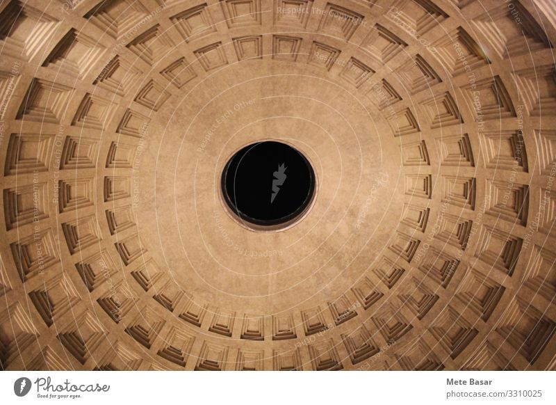 Oculus of Pantheon with surrounding cassette pattern. Architecture Fantastic Uniqueness Religion and faith pantheon ceiling sephia square circular Hole dome