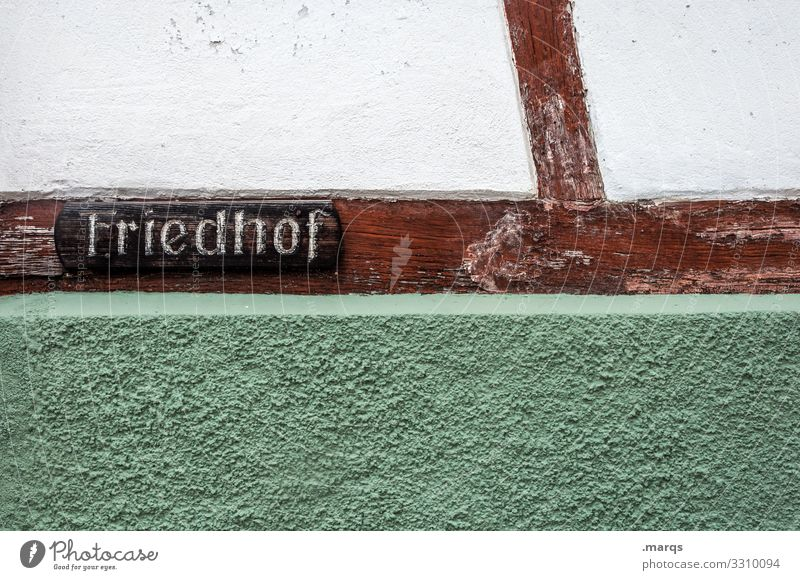 graveyard Characters Cemetery Wall (building) Half-timbered facade Signs and labeling Signage Grief Death Old Historic