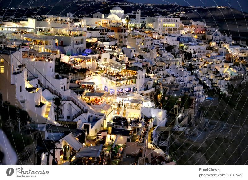 Santorini by night Lifestyle Style Design Vacation & Travel Tourism Trip Summer vacation Night life Entertainment Party Restaurant Club Disco Bar Cocktail bar