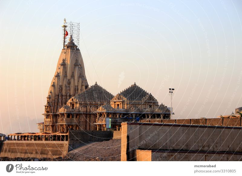 Somanath Temple at Sunset Vacation & Travel Places Religion and faith Dusk Jyotirlinga Shiva Saiva Hinduism Indian Spiritual Holy pilgrimage Pilgrim tour