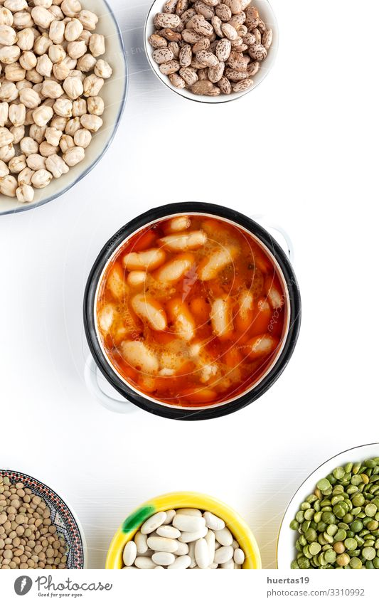Homemade traditional bean stew Food Vegetable Soup Stew Nutrition Vegetarian diet Bowl Healthy Eating Hot Delicious Above Tradition Home-made Beans Cooking Meal