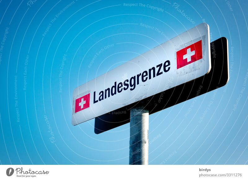 National border, sign at the border between Switzerland and Germany on a footpath in Konstanz often used by commuters working in Switzerland Border checkpoint