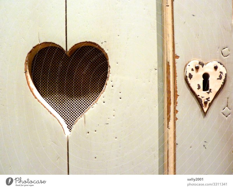 the castle to the heart... Living or residing Interior design Cupboard Sign Heart Love Old Sympathy Relationship Wood Keyhole Lock Wardrobe door Pink woodworm