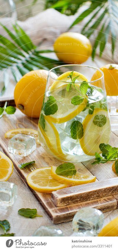 Homemade refreshing lemonade Fruit Beverage Lemonade Juice Summer Leaf Fresh Natural Yellow Green White Mint orange citrus glass Palma de Majorca Tropical