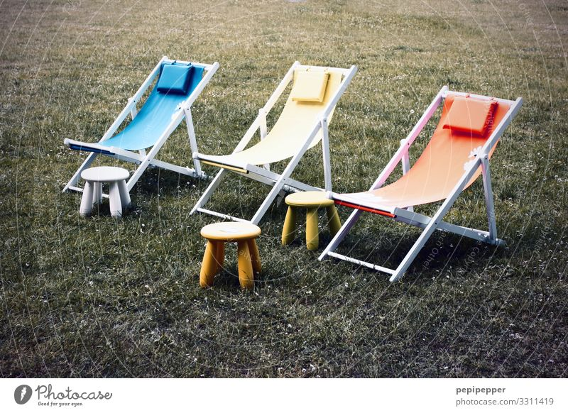 Relax Vacation & Travel Tourism Camping Summer vacation Deckchair Beautiful weather Grass Garden Park Meadow Multicoloured Calm Loneliness Indifferent