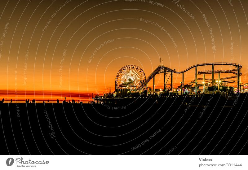 it will be night in santa monica Silhouette Relaxation Vacation & Travel Beach Sunset Route 66 Los Angeles Venice Pacific Ocean Park USA Jetty California