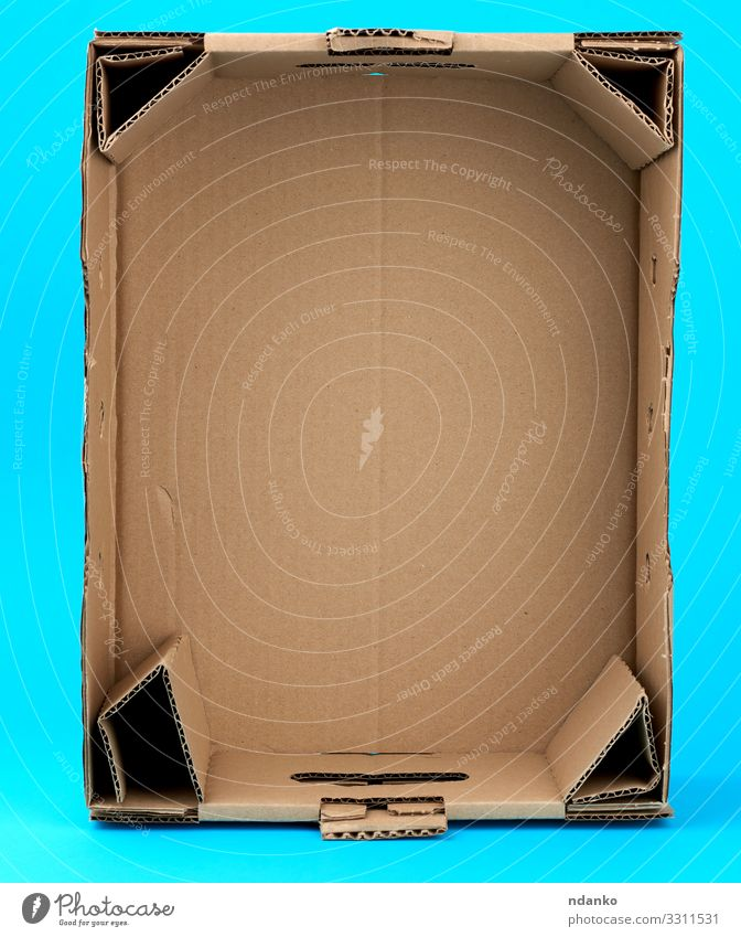 rectangular empty cardboard box Blue Yellow Natural Brown Office Transport Retro Open Paper Clean Bottom Craft (trade) Packaging Crate Storage Carton