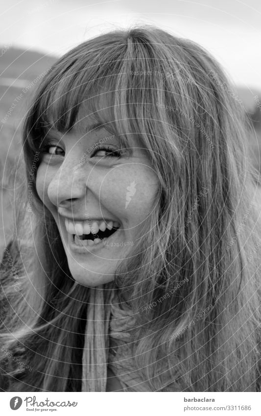 Schalk in the neck Happiness waggish bunkum funny Woman Bangs Laughter laughing Teeth black and white Happy Joy Young woman portrait Human being Face