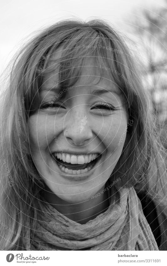 HAPPINESS Happiness Cheerful Laughter Woman Face of a woman Teeth Joy black on white Black & white photo portrait Happy Human being Joie de vivre (Vitality)
