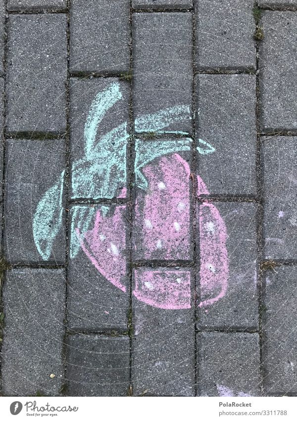 #A0# Asphalt-strawberry Art Esthetic Strawberry Strawberry ice cream Street life Street art crayon Painting (action, artwork) Infancy Child Childhood memory