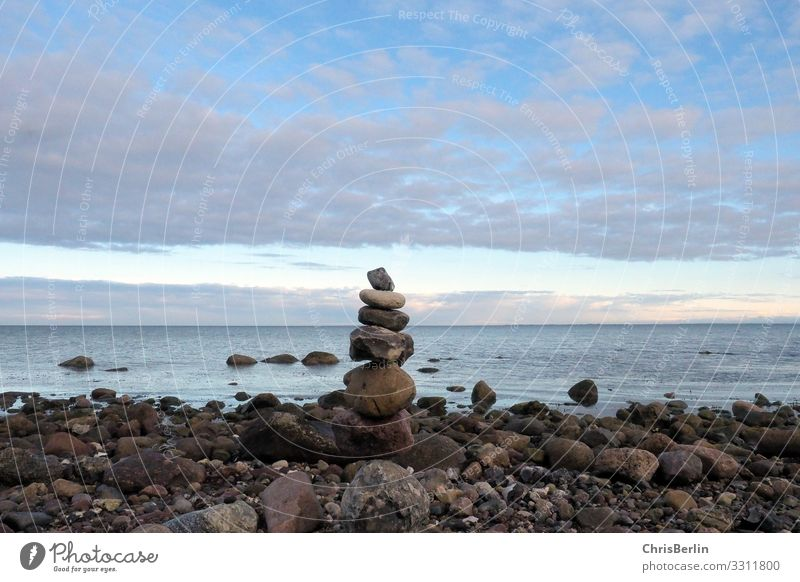 cairn Contentment Senses Relaxation Calm Meditation Far-off places Freedom Beach Ocean Nature Landscape Water Clouds spring Weather Coast Baltic Sea Stone