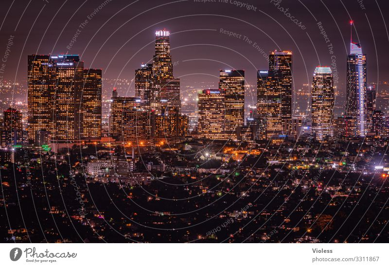 Los Angeles II California Americas USA Skyline Night Dark Lighting Hollywood Town Long exposure Wide angle Sea of light