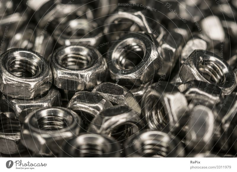 Hexagonal screw nuts. Design Leisure and hobbies Model-making Education Science & Research Work and employment Profession Workplace Construction site Factory