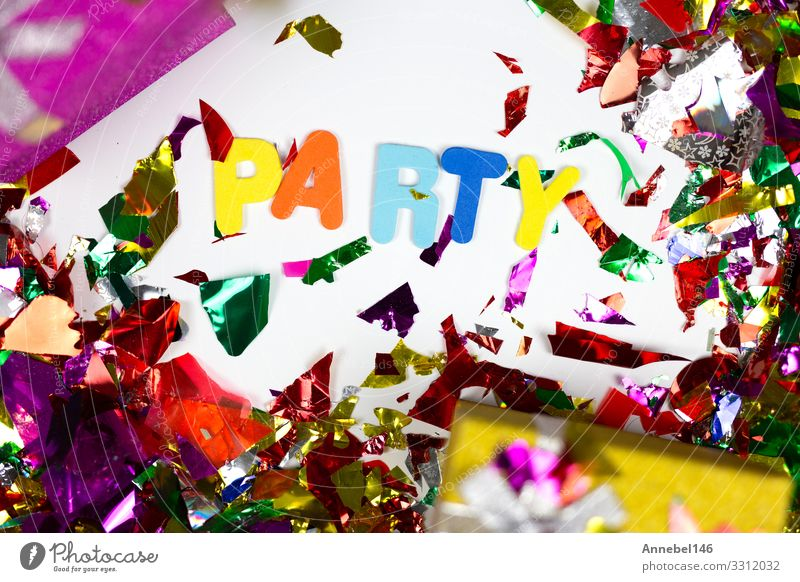 Colorful confetti and presents with the word Party, Design Joy Happy Decoration Entertainment Feasts & Celebrations Birthday Hat Paper String Glittering Bright