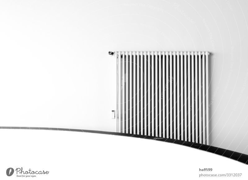 minimalistic view of a heating system on a round curved wall Energy crisis Building Wall (barrier) Wall (building) Heater Heating Line Esthetic Elegant Bright