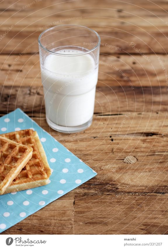 Eating Food Glass Fresh Beverage Nutrition Delicious Milk Dessert Cold drink Wooden table Spotted Snack Waffle