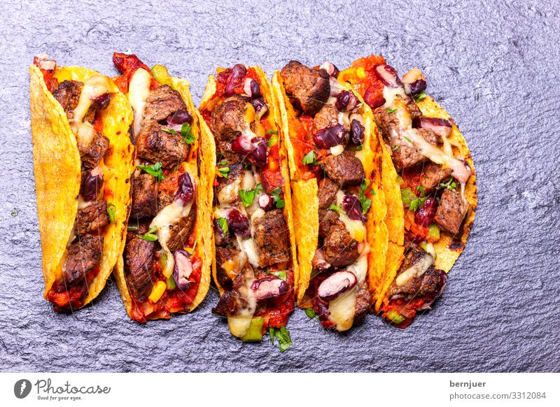 Tacos with beef Meat Cheese Vegetable Lunch Dinner Plate Wood Authentic Fresh Delicious Speed Yellow Beef Snack Coriander Milled Filling burrito traditionally