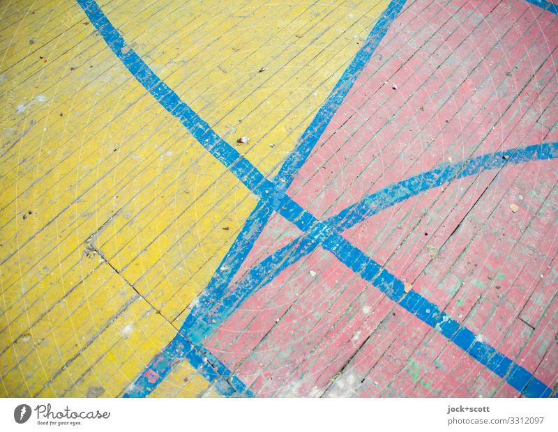 land & soil Wooden floor Marker line Dirty Simple Long Retro Under Blue Yellow Red Symmetry Past Transience lost places Derelict Ravages of time Boundary