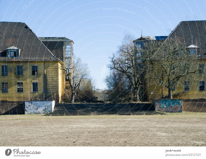 In the right place Architecture lost places Cloudless sky Winter Beautiful weather Tree Brandenburg Places Building Military building Stairs Authentic Simple